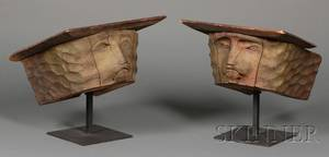 Pair of Carved and Painted Lions Head Fire Capitals