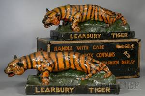 Pair of Large Papiermache Tiger Advertising Figures