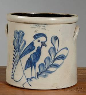 Cobalt Blue Decorated Stoneware Crock