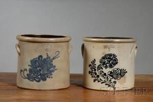 Two Cobaltdecorated Norton Stoneware Crocks