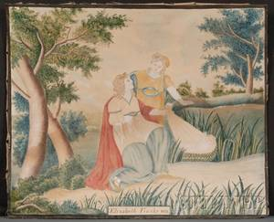 American School 19th Century Schoolgirl Picture Depicting the Biblical Story of Moses in the Bulrushes