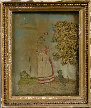 Small Silk Needlework Picture of a Girl Teasing a Cat with a Mouse