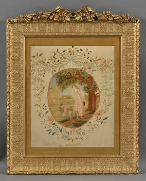 Silk Needlework Picture of a Woman with Sheep