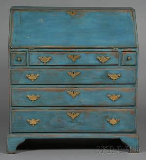 Chippendale Blue and Yellowpainted Cherry Slantlid Desk
