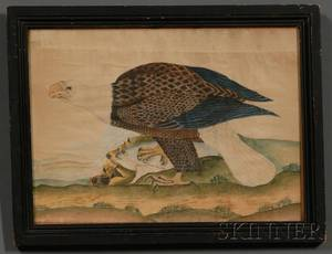 American School 19th Century Bald Eagle on a Mountaintop with a Fish