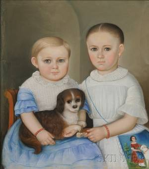 American School 19th Century Portrait of Two Children and Their Spaniel