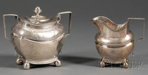 Silver Creamer and Covered Sugar Bowl
