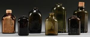 Seven Colored Blown Molded Glass Medicine or Snuff Bottles
