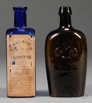 Amber Westford GlassSheaf of Wheat Flask and Cobalt Blue Medicine Bottle