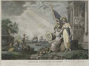 After John J Barralett Engraved by Benjamin Tanner PhiladelphiaNew York 17751848 America Guided By Wisdom An Allegorical rep