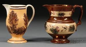 Copper Luster and Mocha Jug and Footed Pearlware Mocha Jug