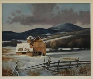 Gerald Lubeck American b 1942 Farm in Winter