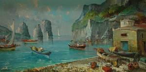 Framed Oil on Canvas of an Italian Coastal View