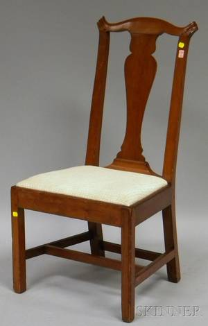 Country Chippendale Cherry Side Chair with Upholstered Slip Seat