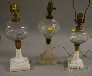 Three Victorian Colorless Molded Pattern and Opaque Glass Kerosene Table Lamps