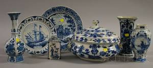 Seven Assorted Blue and White Decorated Ceramic Table Items