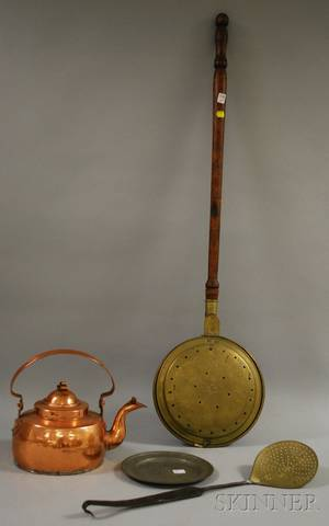 Brass Bedwarmer with Turned Wood Handle a Pewter Plate a Wrought Iron and Brass Skimmer and a Copper Hot Water Kettle