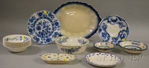 Seventeen Pieces of Assorted Blue and White Decorated Ceramic Tableware