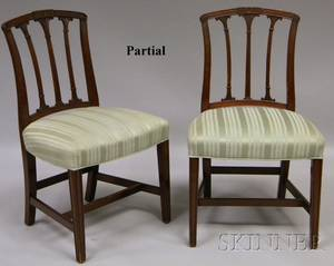 Set of Four Regencystyle Upholstered Carved Mahogany Side Chairs