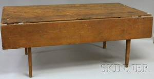 Country Pine and Birch Kitchen Table with Single Drop Leaf