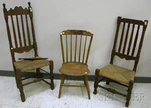 Two Bannisterback Side Chairs and a Windsor Paintdecorated Stepdown Side Chair