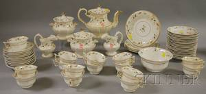 Fiftyeight Piece English Gilt and Paintdecorated Porcelain Partial Tea Service