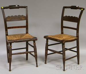 Pair of Hitchcocktype Grained and Stencildecorated Side Chairs with Woven Rush Seats