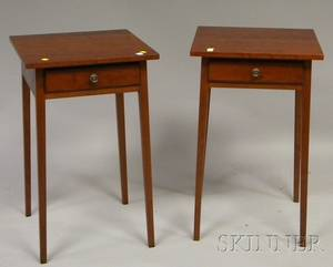 Pair of Eldred Wheeler Federalstyle Cherry Onedrawer Stands