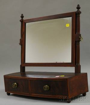 Federal Inlaid Mahogany and Mahogany Veneer Dressing Mirror on Bowfront Cabinet