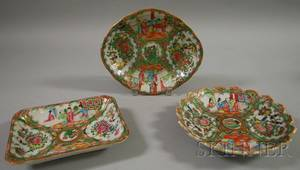 Three Chinese Export Porcelain Rose Medallion Pattern Shaped Serving Dishes