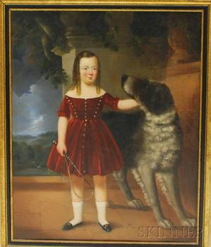 19th Century British School Oil on Canvas Portrait of a Girl with a Whip and Her Dog
