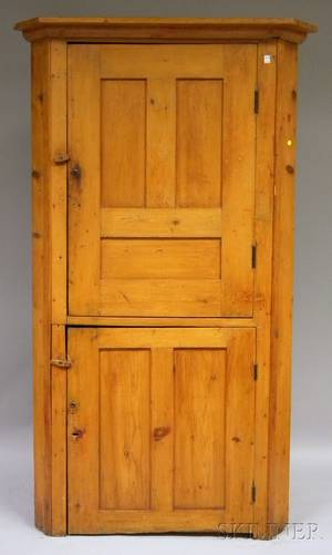 Pine Corner Cupboard with Two Paneled Doors