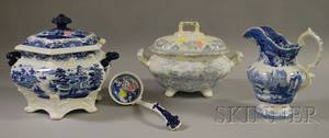 English Blue and White Transferdecorated Staffordshire Covered Tureen Jug and Covered Tureen with Ladle