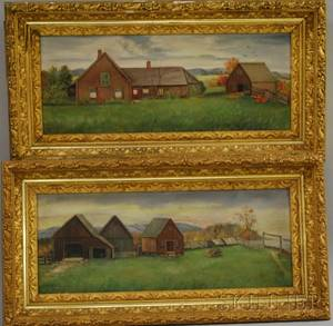 Pair of 19th Century American School Oil on Canvas Farmyard Views Probably New Hampshire