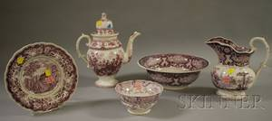 Five Pieces of Assorted English Transferdecorated Staffordshire Tableware