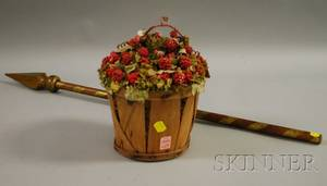 Mixed Media Basket of Berries Arrangement and a Fraternal Giltwood Scepter