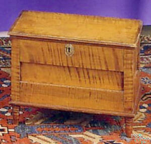 Pennsylvania Sheraton tiger maple and cherry miniature blanket chest ca1830