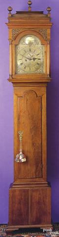 Pennsylvania Queen Anne walnut tall case clock ca 1730