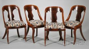 Set of Six Classical Mahogany Gondola Chairs with Upholstered Slip Seats