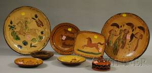 Eight Greg Shooner Glazed and Sgraffitodecorated Redware Items