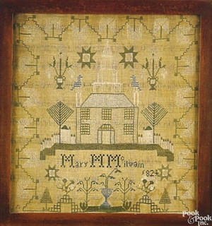Very fine Maryland silk on linen sampler wrought by Mary M McIlvain 1824