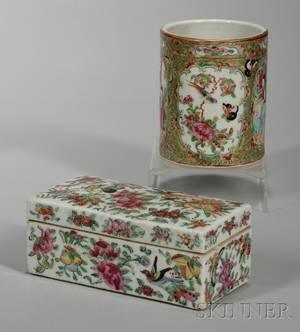 Chinese Export Porcelain Rose Mandarin Brush Pot and Famille Rose Covered Box