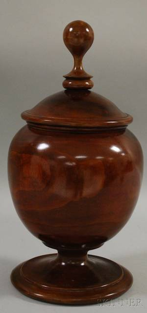 Large Turned Treen Bowl with Lid