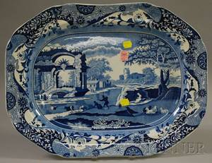 English Blue and White Scenic Transferdecorated Staffordshire Platter