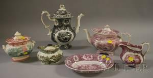 Six English Transferdecorated Staffordshire Transfer Tableware Items