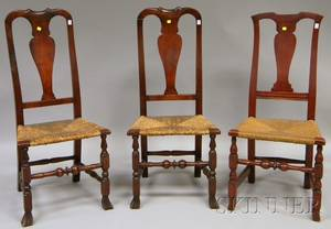 Pair of Queen Anne Carved Maple and Oak Side Chairs and a Queen Anne Cherry Side Chair