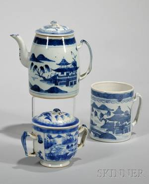 Five Pieces of Chinese Export Porcelain Canton Tableware