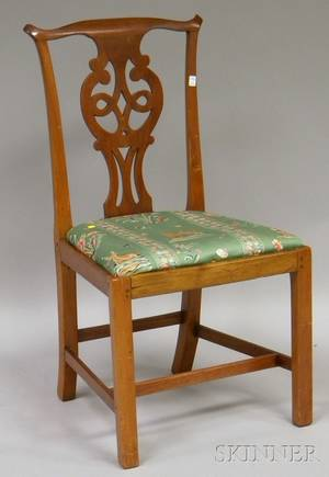 Chippendale Walnut Side Chair with Upholstered Slip Seat