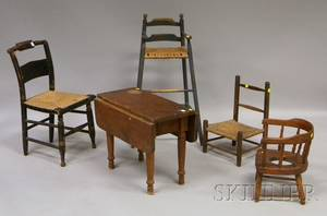 Five Pieces of Assorted Mostly 19th Century Childrens Furniture