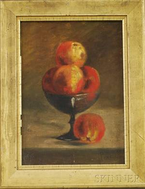 Late 19thEarly 20th Century Oil on Canvas Still Life of Peaches in a Compote